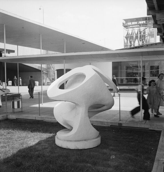 Festival of Britain 1951, Lambeth, London. A Barbara Hepworth sculpture at the South Bank Exhibition site. Photographed by M W Parry