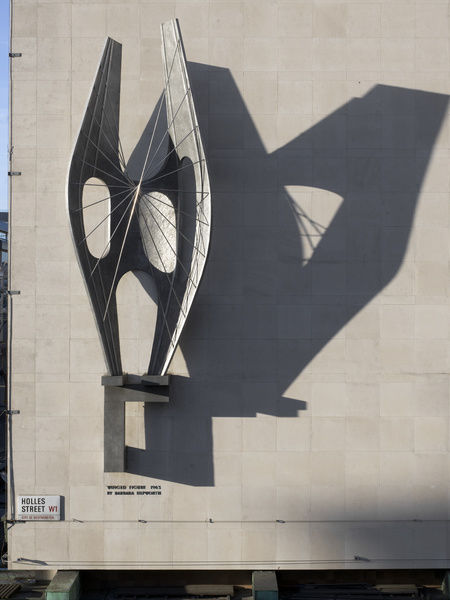 "John Lewis Departmant Store, Oxford Street, Marylebone, Greater London. Barbara Hepworth sculpture ""Winged Figure"" mounted on Holles Street elevation. Detail. Photographed by Chris Redgrave in 2015"
