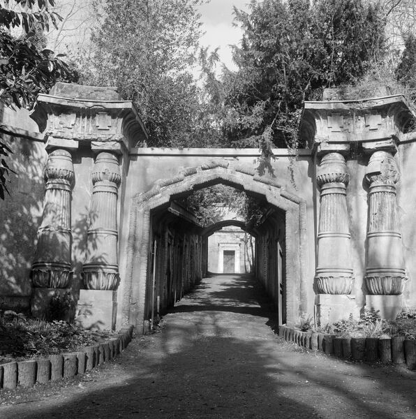 HIGHGATE CEMETERY, Hampstead, London. The entrance to the Egyptian Avenue in the West Cemetery. Photographed by John Gay in 1993