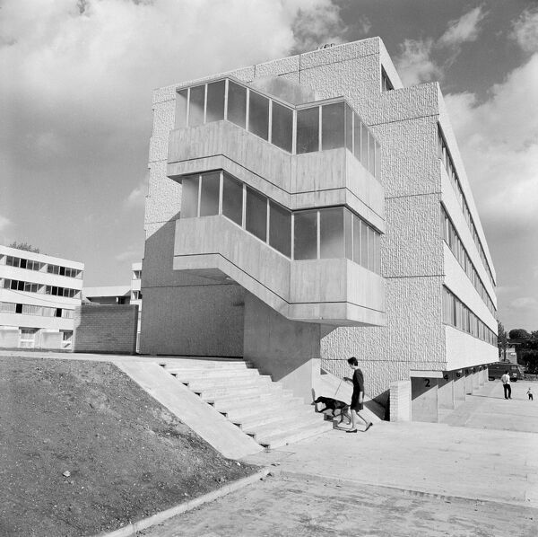 Hillingdon , London. A newly built block of flats constructed in the brutalist style on an estate at Field End Road. Photographed by John Gay 1968-75
