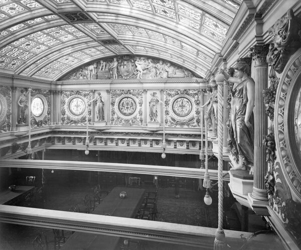 SS OPHIR. Interior of the Saloon from the Gallery. Photographed by Bedford Lemere in 1901 for Anderson Anderson & Co. From 1891 the liner was owned by the Orient Steamship Company and carried passengers to and from Australia via Aden and Colombo