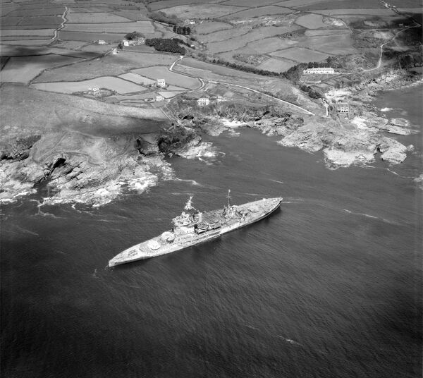 HMS WARSPITE, Prussia Cove, Cornwall. Warspite was launched in 1913 and saw action with the Royal Navy at the Battle of Jutland in 1916. During the second world war she saw service off Norway, Italy, in the Indian Ocean, Sicily and Normandy