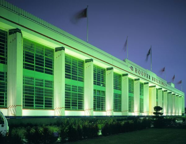 THE HOOVER BUILDING, Western Avenue, Perivale, London. Exterior view at night