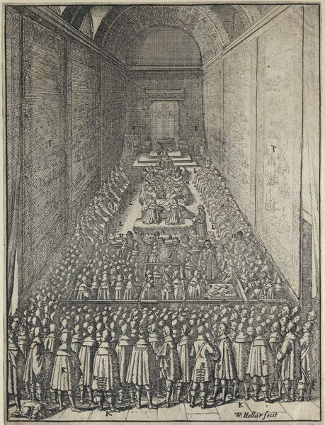 House of Lords, Palace of Westminster, London. Interior of the House of Lords in session. Etching by W. Hollar dated c.1650. Mayson Beeton Collection