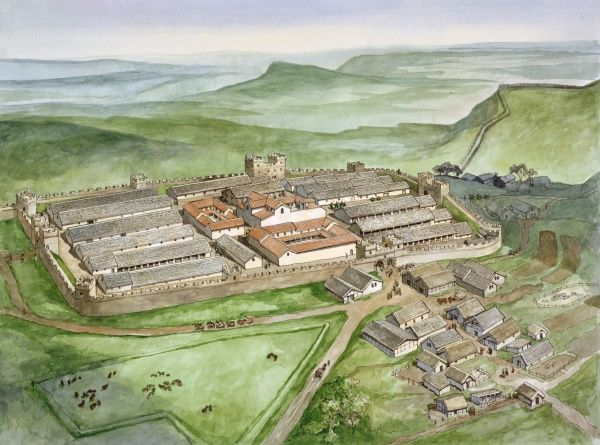 HADRIAN'S WALL: HOUSESTEADS ROMAN FORT (VERCOVICIUM), Northumberland. Aerial view reconstruction drawing by Philip Corke