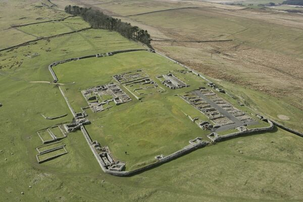 HADRIAN'S WALL: HOUSESTEADS FORT, Northumberland. Aerial view of the fort. hadrian