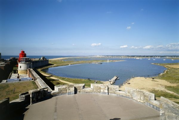 HURST CASTLE, Hampshire. View north west from the central tower of the west wing and the inlet