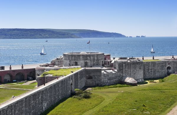 HURST CASTLE, Hampshire. View of Tudor keep with Solent, and coastline beyond