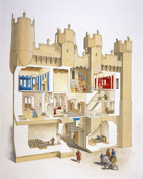 HYLTON CASTLE, Sunderland, Tyne & Wear. Cutaway reconstruction drawing by David Simon of the Gatehouse in the 15th century