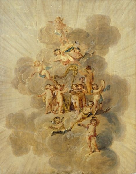 "KENWOOD HOUSE, London. ""Winged Cherubs with Musical Instruments"". Section of Music Room decorative border by Julius Caesar IBBETSON (1759-1817)"