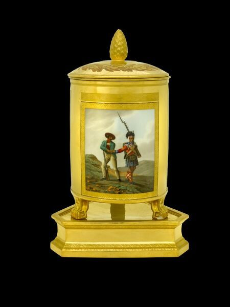 APSLEY HOUSE, London. Ice pail from the Duke of Wellington's Prussian Service, made in Berlin 1817-19. This was a gift to the Duke from the King of Prussia, and here depicts scenes from the Peninsular War. Here shown are a British Highlander