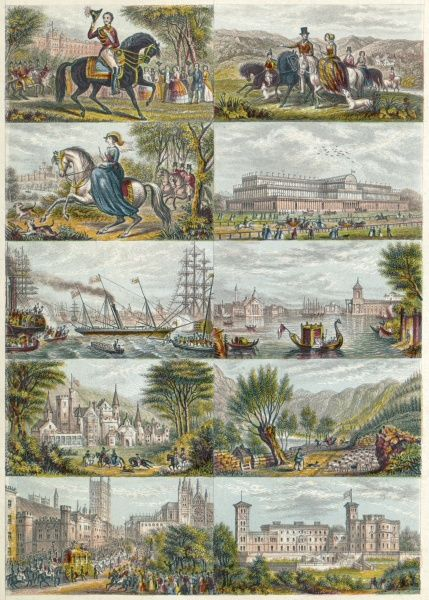 MAYSON BEETON COLLECTION. Illustrations dated 1851. Includes Osborne House, the Great Exhibition, Prince Albert, and other views. Coloured engraving from the Mayson Beeton Collection