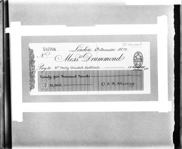 Photograph of a cheque for