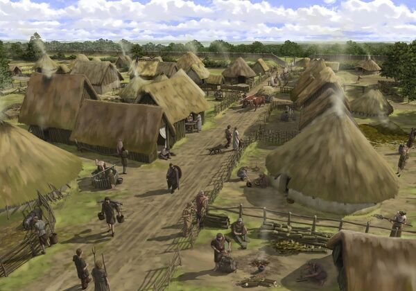 SILCHESTER ROMAN CITY WALLS, Hampshire. The Iron Age town at Silchester, seen from the north looking towards the southern entrance. Reconstruction drawing by Peter Urmston