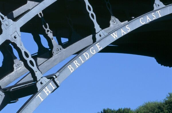 IRON BRIDGE, Shropshire. Detail of lettering on the famous cast iron bridge. Designed by Thomas Pritchard and built in 1779 by Abraham Darby III of the Coalbrookdale Company