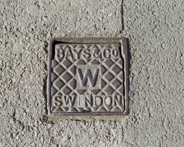 Swindon, Wiltshire. A water stop tap cover plate made by Bays and Company, Swindon