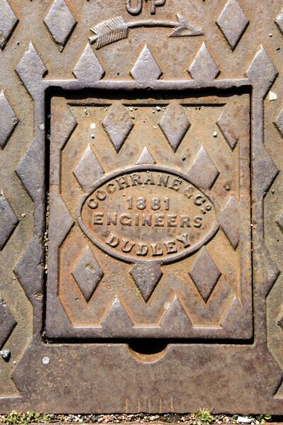 Devonport Dockyard, Plymouth, Devon. Dry Docks 2 and 3 detail of cover of drainage mechanism. Made by Cochrane & Co Engineeers, Dudley, 1881