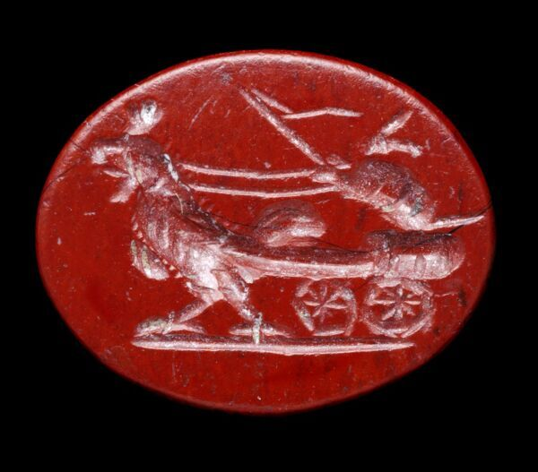ALDBOROUGH ROMAN TOWN, North Yorkshire. Jasper intaglio depicting a hare in a chariot being pulled by a cock