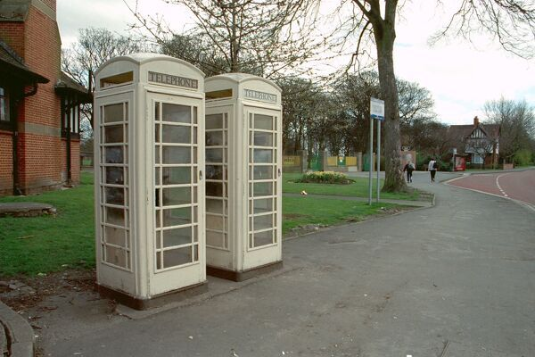 Pair of white K6 telephone boxes, 15 Metres South of Carnegie Library, Kingston Upon Hull, East Yorkshire. IoE 387437