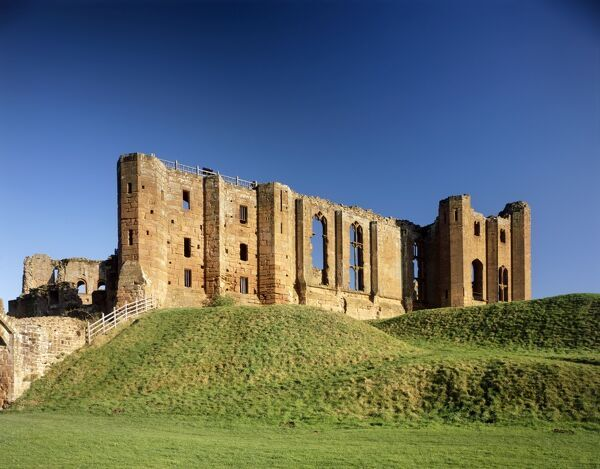 KENILWORTH CASTLE, Warwickshire. View of the Strong Tower, Great Hall and Saintlowe Tower from the West