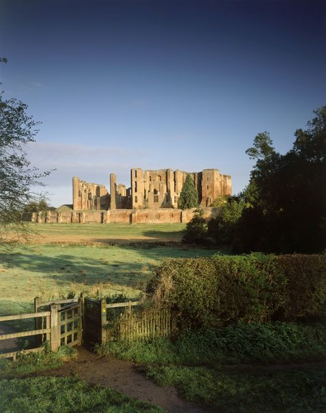 KENILWORTH CASTLE, Warwickshire. View across the field towards the castle, which at one time formed part of the great mere