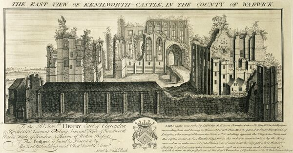 "KENILWORTH CASTLE, Warwickshire. ""The East View of Kenilworth Castle in the County of Warwick"". Engraving by Samuel & Nathaniel BUCK, 1729"