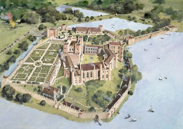 KENILWORTH CASTLE, Warwickshire. Aerial view reconstruction drawing of the castle in Tudor times by Ivan Lapper