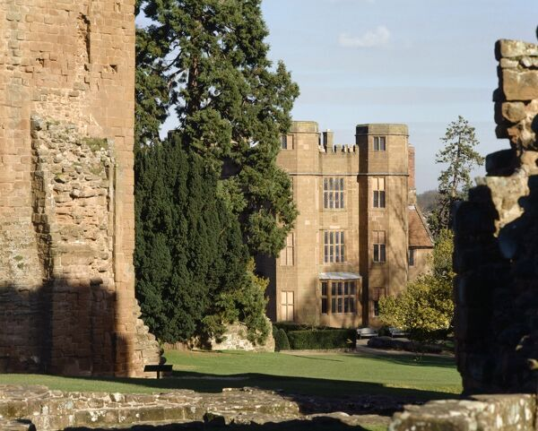 KENILWORTH CASTLE, Warwickshire. View looking towards Leicester's Gatehouse with the South East corner of the Keep to the left