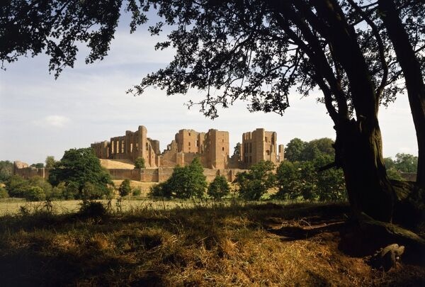KENILWORTH CASTLE, Warwickshire. The Castle from across the mere