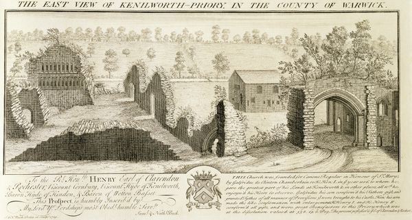 "KENILWORTH CASTLE, Warwickshire. ""The East View of Kenilworth Priory in the County of Warwick"". Engraving by Samuel & Nathaniel BUCK, 1729. St Mary's Abbey"