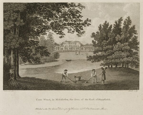 "KENWOOD HOUSE, London. Engraving, 1786 ""Caen Wood in Middlesex, Seat of Earl of Mansfield"" by James Heath"