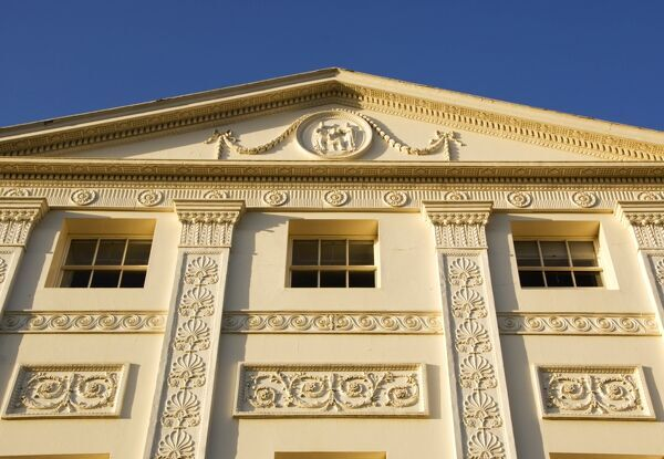 KENWOOD HOUSE, Hampstead, London. Exterior view. South elevation of house. Detailed view of the pediment showing ornamentation