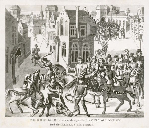"MAYSON BEETON COLLECTION. London 1381. ""King Richard in great danger in the City of London and the rebels discomfited."" Probably copied from a tapestry or painting. Engraving from the Mayson Beeton Collection"