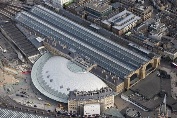 Kings Cross Station, Camden, London. View showing the new concourse and the 1852 facade. Photographed in September 2012