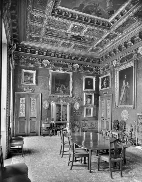 KINGSTON LACY HOUSE, Pamphill, Dorset. Interior of the Spanish Room. Paintings on the walls of this room include works by Velazquez, Murillo and Ribalta. Photographed in 1948 for the National Building Record