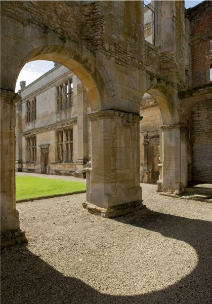 KIRBY HALL, Northamptonshire. View through loggia of north range to east range