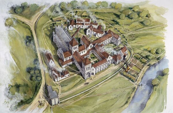 KIRKHAM PRIORY, North Yorkshire. Aerial view reconstruction drawing of the priory in 1538 by Peter Dunn (English Heritage Graphics Team)