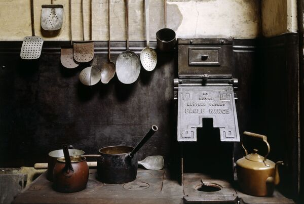 BRODSWORTH HALL, South Yorkshire. Interior of Kitchen. Detail showing utensils
