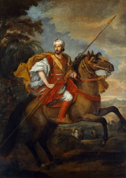 "CHISWICK HOUSE, London. ""Mohammed Ohadu, the Moroccan Ambassador"" 1684 by Sir Godfrey KNELLER (1646-1723) and Jan WYCK (c.1640-1702). Equestrian portrait. British School. Post Conservation. 88003007"
