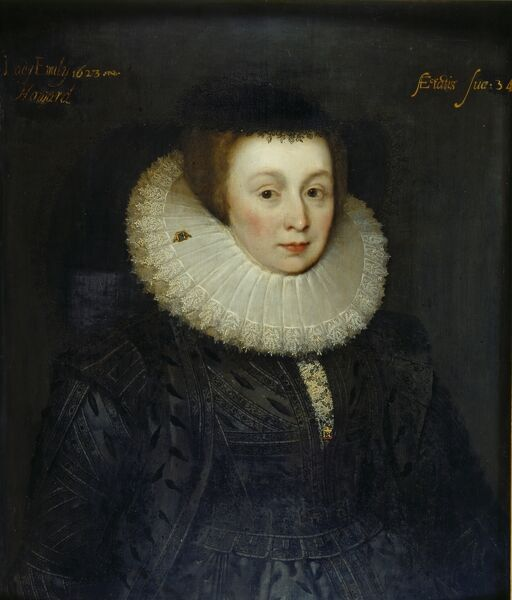 KENWOOD HOUSE, SUFFOLK COLLECTION, London. 'Portrait of Lady Emily Howard' by school of Marcus Gheeraerts the Younger (c.1561-1635)