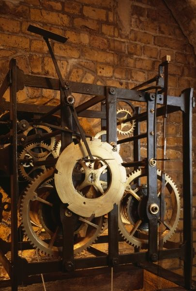 LANDGUARD FORT, Felixstowe, Suffolk. Interior view. Detail of the clock mechanism in the gatehouse
