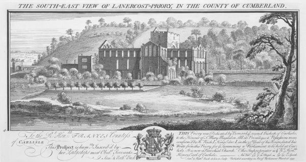LANERCOST PRIORY, Cumbria. 'South east view of Lanercost Priory in the county of Cumberland' by Samuel and Nathaniel Buck, 1739