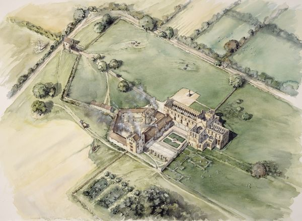 LANERCOST PRIORY, Cumbria. Aerial view reconstruction drawing of the post dissolution priory by Peter Dunn (English Heritage Graphics Team)