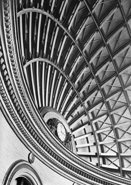 CORN EXCHANGE, Leeds. An interior detail of the domed roof of the Corn Exchange in Duncan Street showing the clock. The iron-framed dome rises to a height of 75 feet above the floor. It was erected between 1861 and 1863 at a cost of £15