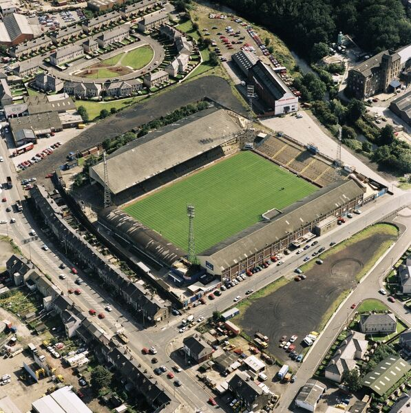 LEEDS ROAD, Huddersfield. Aerial view of the former home of Huddersfield Town Football Club. The Terriers moved to the Galpharm Stadium in 1994. Photographed in 1992. Aerofilms Collection (see Links)
