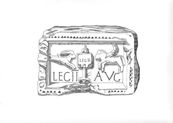 Hadrian's Wall. Illustration depicting a carved plaque found at Benwell Roman Fort, showing the emblem of the Second Legion Augusta - a vexillum (flag-like military standard) flanked to left by Capricorn and to right by a Pegasus