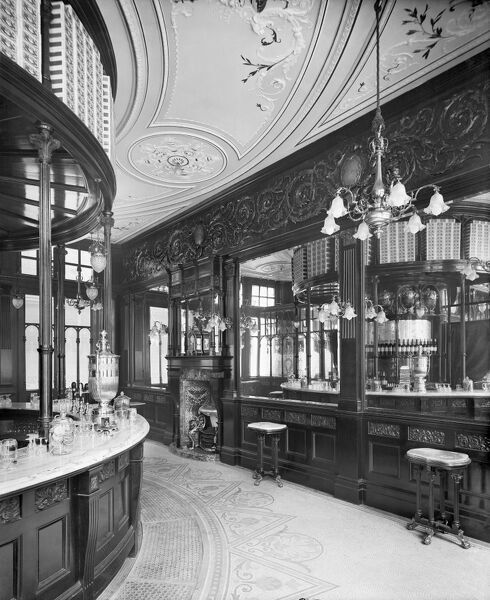 THE LEICESTER PUBLIC HOUSE, New Coventry Street, Westminster (Threadwell and Martin architects). Interior of the Saloon Bar. Photographed by Bedford Lemere in May 1895