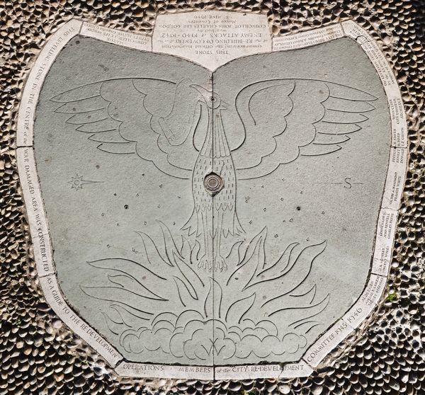 The Levelling Stone, Upper Precinct, Coventry, West Midlands. Slab of slate depicting a Phoenix rising from the flames marking the redevelopment of Coventry