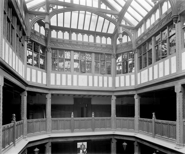 LIBERTY'S, Regent Street, London. Interior of Liberty's newly completed Arts and Crafts Tudor style department store, showing the gallery and light well. This extraordinary building was constructed in 1922-24 using timbers from HMS Hindustan