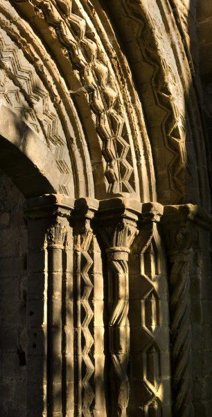 LILLESHALL ABBEY, Shropshire. Detail of processional doorway from the cloister into the nave